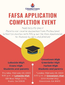 FAFSA completion event informational flyer