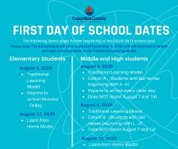 First day of school start dates
